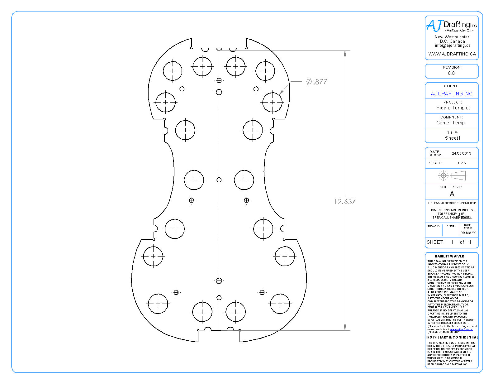 Fiddle Bottom Mold DWG.